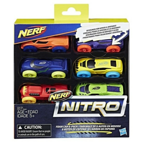 NERF Nitro szivacsautó 6 db-os készlet kék, zöld, narancs