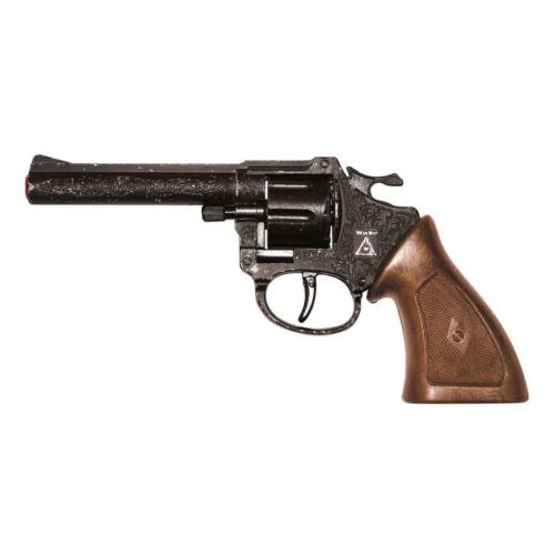 Pisztoly western revolver patronos 8 lövetű forgótáras Ringo fekete kopottas műanyag