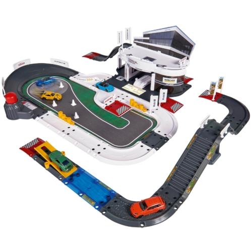 Majorette Porsche Élménycenter szett 5 autóval (80 db-os készlet)