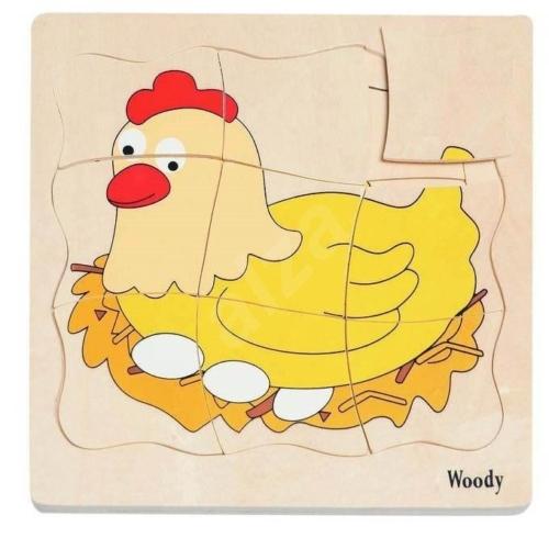 Puzzle Tyúk fejlődése 20 db-os db-os fa Woody