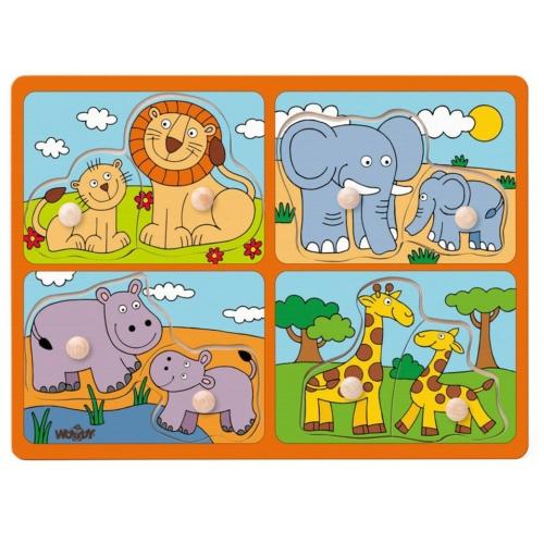 Puzzle fogós egzotikus állatos anya és kicsinye fa 8 db-os Woody