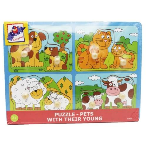 Puzzle fogós háziállatos anya és kicsinye fa 8 db-os Woody