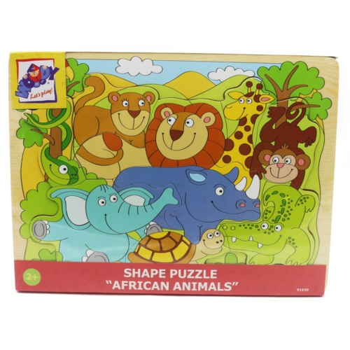 Puzzle formaillesztő afrikai állatok 9 db-os Woody