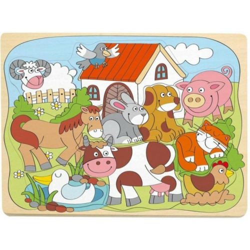 Puzzle formillesztő háziállatok 10 db-os Woody