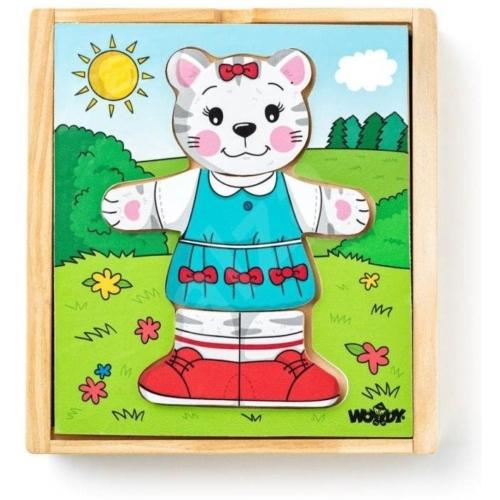 Puzzle öltöztető cica Kitty 18 db-os Woody