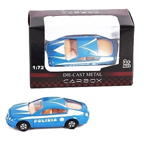Rendőr jármű kék fém sportautó 1:72
