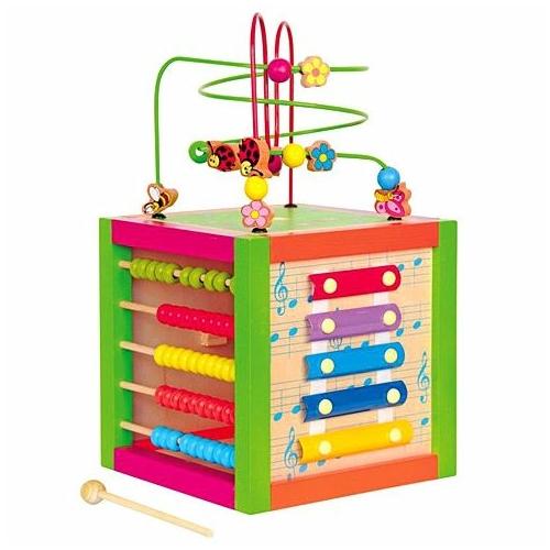 Tanító színes kocka fa szett 3 db-os Woody