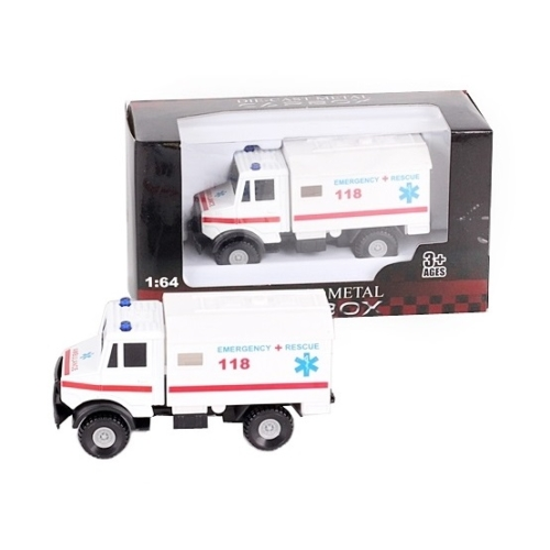 Teheratuó fehér fém mentőautó 1:64
