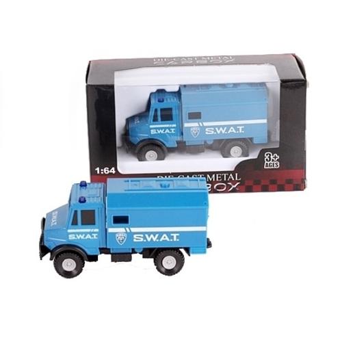 Teherautó kék fém SWAT kommandós 1:64