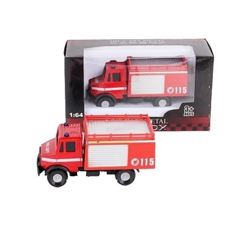 Teherautó piros fém tűzoltóautó 1:64