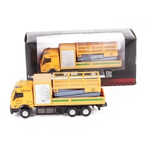 Teherautó sárga fém emelőkosaras teherautó 1:64