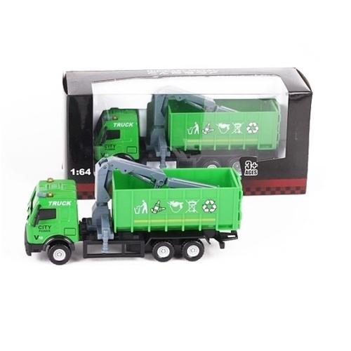 Teherautó zöld fém szelektívgyűjtő kukásautó nyitott 1:64