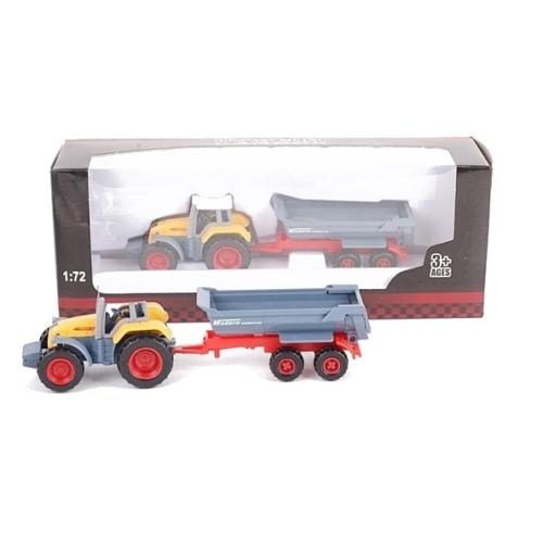 Traktor fém piros pótkocsi billenő konténerrel 1:72