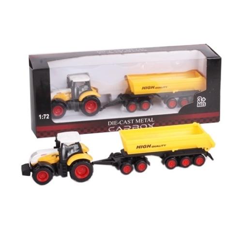 Traktor fém sárga-fehér sárga billenő konténerrel 1:72