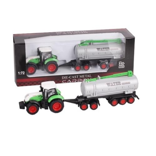 Traktor fém zöld-fehér és locsolótartály 1:72