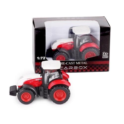 Traktor piros-fehér fém 1:72