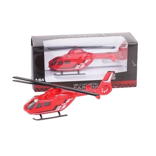 Túzoltó jármű piros fém helikopter 1:64