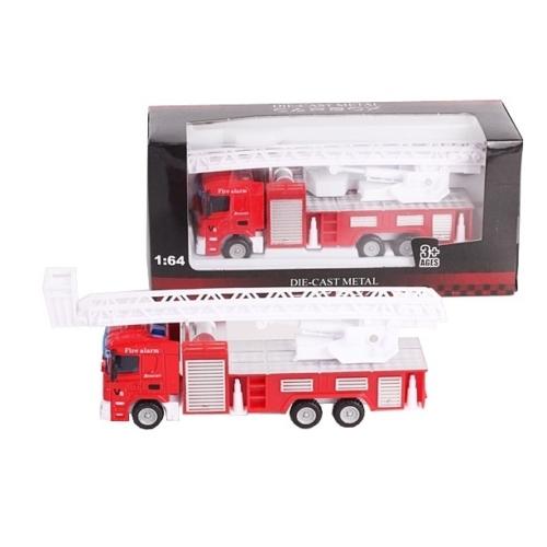 Tűzoltó jármű piros fém létrás tűzoltóautó 1:64