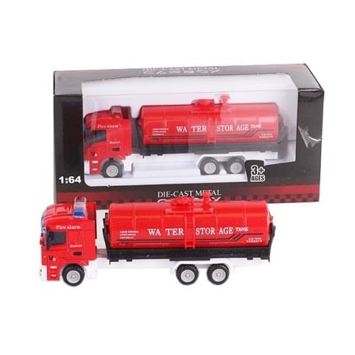 Túzoltó jármű piros fém víztartályos tűzoltóautó 1:64
