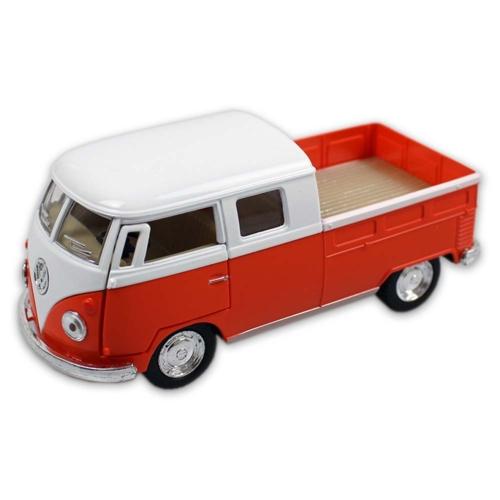 VW fém kisbusz hátrahúzós narancssárga 1:34