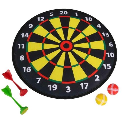 Darts tábla 2 db tépőzáras nyíllal és 2 db labdával 35 cm citromsárga