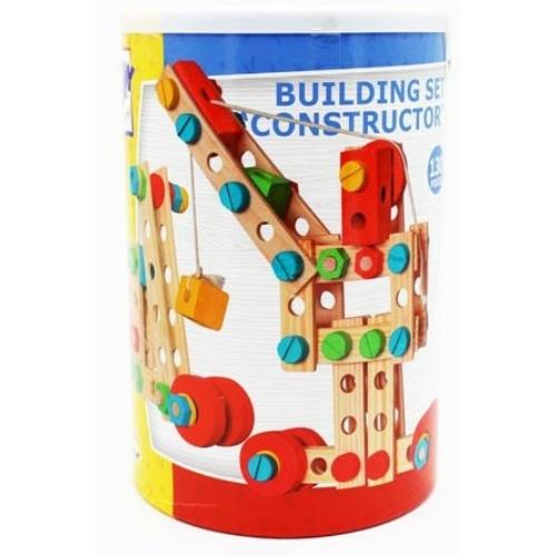 Építőjáték színes Constructor fa szett 140 db-os Woody