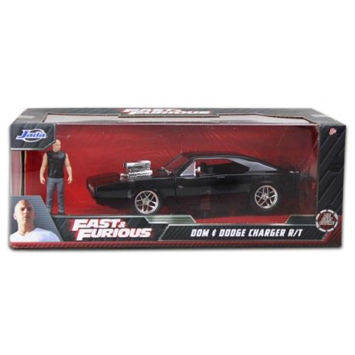 Fast & Furious Dom figura és Dodge Charger R/T fém autó 1:24