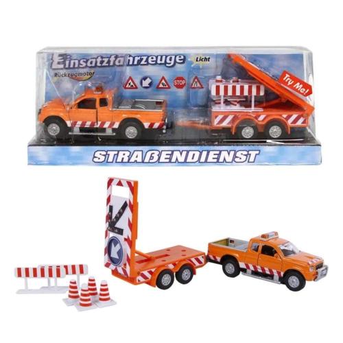 Fém autó hátrahúzós terepjáró útlezárás vontatóval és kiegészítőkkel narancssárga