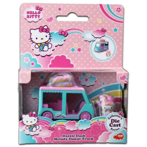 Hello Kitty Dazzle Dash Melody fém fánkos autó figurával