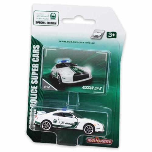 Majorette Dubai Police Nissan GT-R fém kisautó fehér 1:64