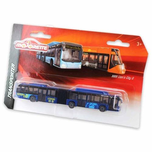 Majorette MAN Lion's City G fém busz kék 18,5 cm
