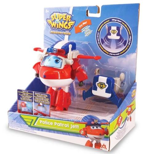 Super Wings Átalakuló játékrepülő fénnyel Police Patrol Jett 14 cm