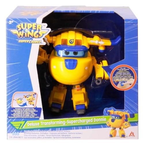 Super Wings Átalakuló játékrepülő hanggal és fénnyel Deluxe Supercharged Donnie 15 cm