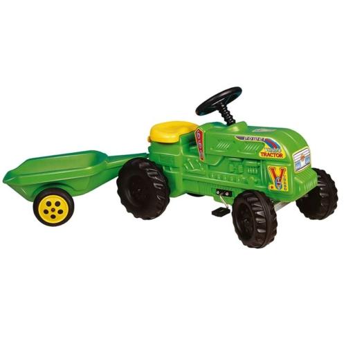 Traktor utánfutóval pedálos műanyag zöld 36 cm
